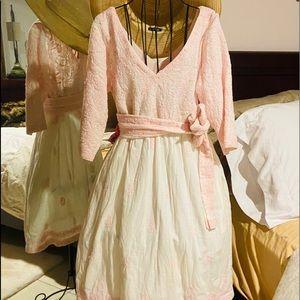 Gretchen Scott pink and white dress